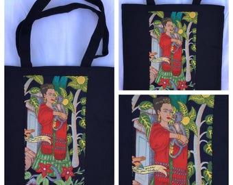 Frida Kahlo & Monkey Small Tote Bag