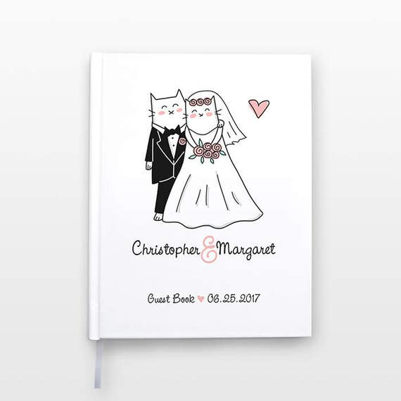 Cat Personalized Wedding Guest Book Idea, Unique Wedding Guestbook, Custom Guest Sign In Book Wedding Book Couple Journal Hardcover Notebook