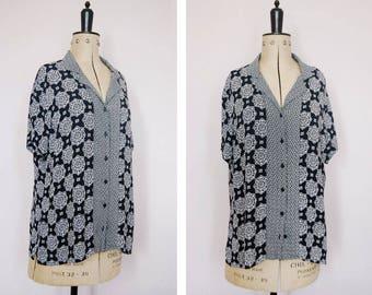 Vintage 90s mandala rayon blouse - 90s button up shirt - 90s rayon blouse - 90s rayon shirt - 90s patterned shirt - 90s oversized shirt