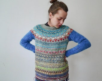 Handmade Icelandic style sweater made from Icelandic wool