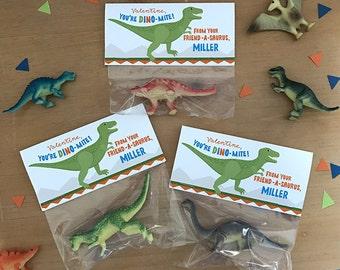 Dinosaur Valentine Bag Topper, Personalized, Boys & Girls, Printable Digital File, Friend-A-Saurus