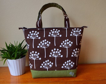 Insulated Lunch Bag/ Lunch Bag with Bottle Holder/ Lunch Bag insulated/Lunch bag for women/Lotta Jansdotter fabric