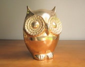 Vintage Large Brass Owl Figurine, Gold Owl Statue, Heavy Brass Owl, Brass Bird