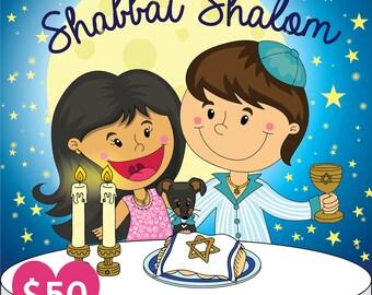 Customizable Digital Illustration couple celebrating Shabbat