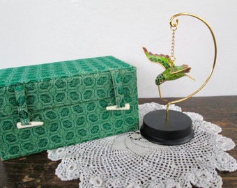Sale Lovely Cloisonné Hummingbird with Stand