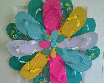 Beautiful Mint Green Beach Print Flip Flop Wreath Costal Door Decor Luau