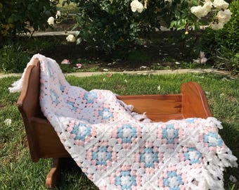 Pastel Granny Square Knit Crochet Afghan Baby Blanket Throw