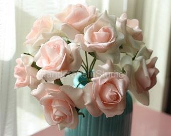 Light Pink Blush Wedding Flowers Heads 100 Artificial Foam Floral Bouquet For Bridal Bridesmaids Flower Girl Flowers Crafts DIY Material