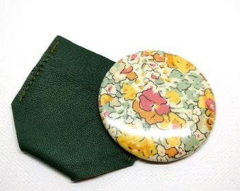 Liberty Claire aude Yellow pocket Mirror & Kaki Leather case
