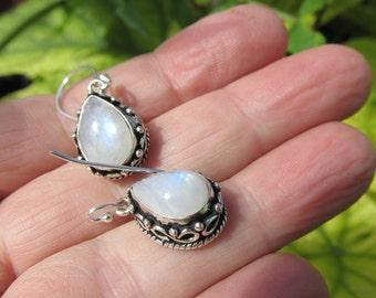 Sale, Beautiful Rainbow Moonstone Earrings, 925 Silver Overlay, Maid of Honor, Prom, Birthday, Bride