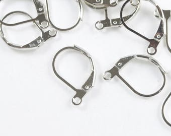Antique Silver Leverback Ear Wires, Platinum Finished Hoop Earrings, 20 pieces (FP009)