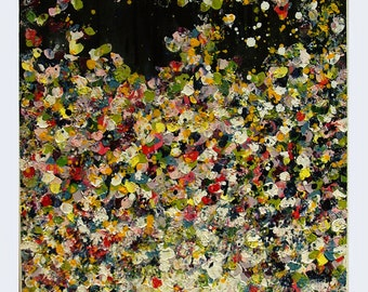 """Colorful Abstract Painting, Acrylic Art, Landscape Painting, """"Flower rain"""" by M.Schöneberg 24x24x0,75"""