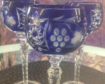 Set of 3 Ajka Marsala Cobalt Blue wine Glass Gobelet. Marsala pattern