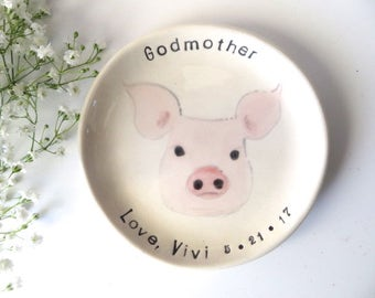 Ring holder, Godmother Gift, Nana Gift, Sister Gift, Aunt Gift, Pig dish, keepsake gift, ANY animal face, Animal Collector Gift