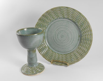 Chalice and paten set - pottery communion set - blue green communion set - liturgical ware - communion ware  W219