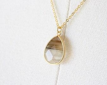 Olive glass stone teardrop necklace