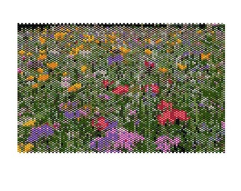 Summer Flower Meadow Peyote Tapestry