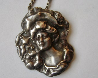 vintage sterling gibson girl pendant necklace