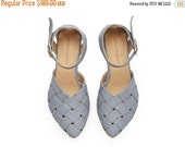 FINAL SALE Sophie,  light Blue Sandals, Leather Sandals, handmade, flats, leather shoes, by Tamar Shalem