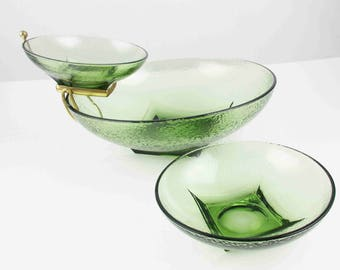 Chip and Dip - Dimpled Glass Bowls in Sage Green - Party Help - Brass Holder and Three Bowls - Useful and Usable