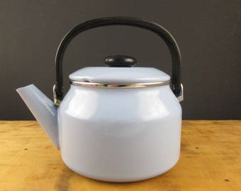 Almost New, 2 Qt. 'Siam Fuji Ware' Tea Pot/Kettle - Made in Thailand - Light Blue Porcelain With Navy Blue Interior and Black Handle