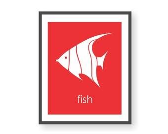 Angel Fish Art, Sea Life Print, Angelfish, Kids Fish Art, Ocean Theme Nursery, Coral Reef Decor, Under The Sea Art, Playroom Art