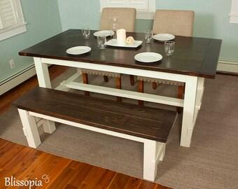 Farmhouse Table, Solid Wood Farmhouse Dining Table, Rustic Harvest Table