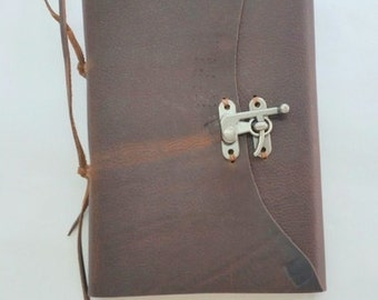 Rustic Leather Journal with Clasp, Brown Rustic Half Page Journal, Locking Leather Journal, Rustic Travel Journal