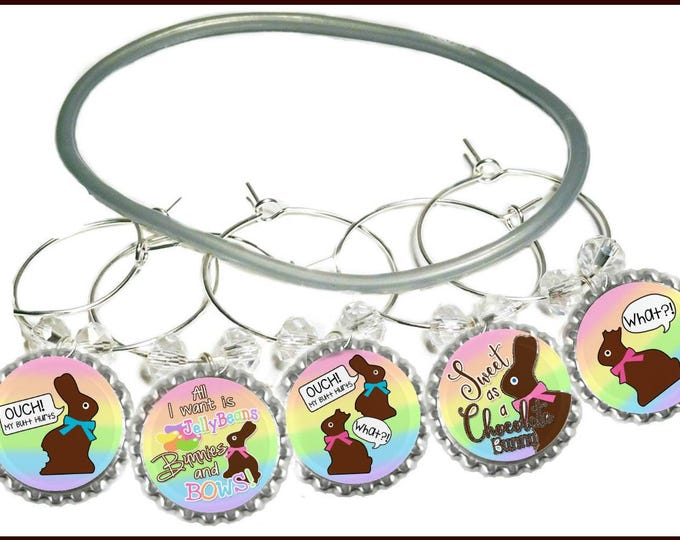"""Easter """"Ouch"""" Wine Glass Charms (5 Pack)"""