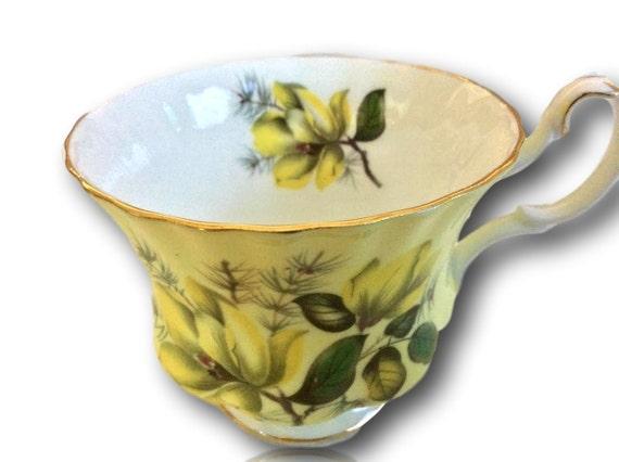 Vintage Yellow English Teacup by Royal Albert Bone China #4502 Yellow Cup England