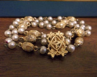 Vintage Pearl and Gold Tone Beaded Three Strand Bracelet, 417S