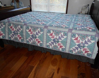 Bright Flying Geese Queen Quilt, Multi-colored Flying Geese Quilt and Hand Quilted Flying Geese Quilt