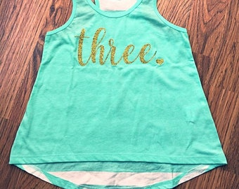 Toddler Girls Birthday Tank Striped Back