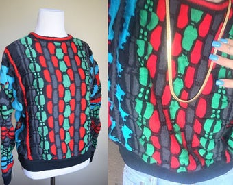 Authentic vintage COOGI sweater women's medium multicolored knit abstract Biggie