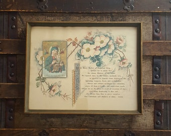 Vintage Prayer to Mary, Mother of Perpetual Help Picture in Frame early 1900's