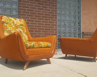 Mid Century Modern Adrian Pearsall Style His & Hers Lounge Chairs