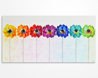 Abstract flowers, Modern Colorful Art, Rainbow Flowers in a row, Colorful artwork, Original palette knife multicolored painting on canvas