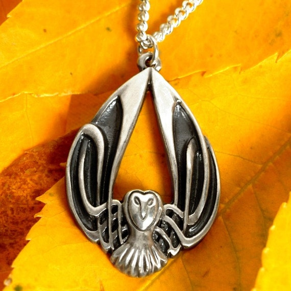 Silver Owl Necklace, Celtic Owl Pendant, Sterling Owl Jewelry, Celtic Owl, Barn Owl Wings, Harry Potter Owl, Art Nouveau Owl, Owl Lover Gift