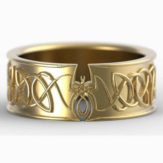 Gold Celtic Ring With Spider and Dara Knotwork Design in 10K 14K 18K or Palladium, Made in Your Size Cr-5011