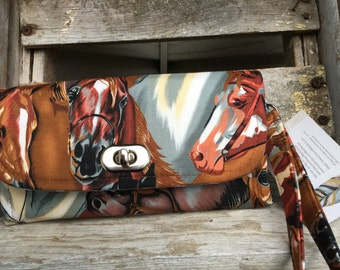 Horse wallet, thoroughbred wallet, Wallet with Horses, Western Wallet, Horse NCW Wallet, cowgirl wallet, Horse Theme Wallet Emmaline Wallet
