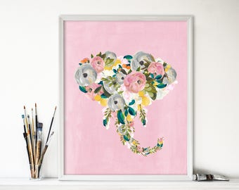 Art Print - Buy One Get One Free - Pink Bright Floral Elephant - Watercolor - Gallery Wall - Nursery - Girly Decor - Teen - SKU#7861