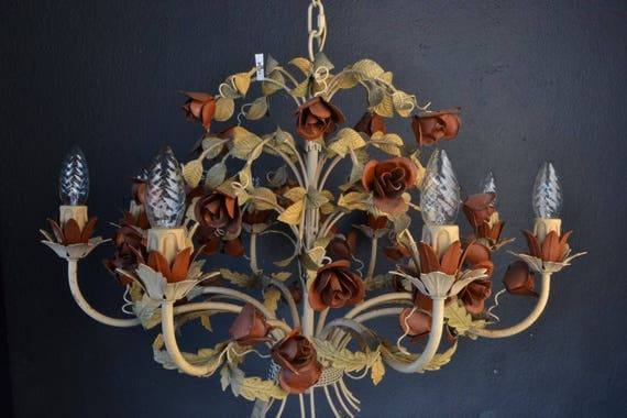 Italian tole chandelier with roses.