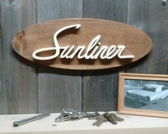 1963 Ford Sunliner Emblem Oval Wall Plaque-Unique scroll saw automotive art created from wood for your garage, shop or man cave.