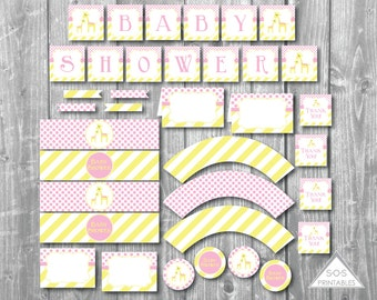 Pink Giraffe Baby Shower Printables, Girl Baby Shower, Yellow and Pink Giraffe, Baby Shower Decorations, Décor, Instant Download