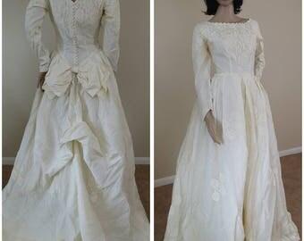 vintage handmade 50s ivory wedding dress wedding gown