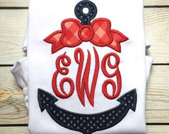 Girls nautical anchor applique shirt or onesie, Girls summer shirt, girls anchor shirt, girls summer monogram, anchor monogram appliqué bow