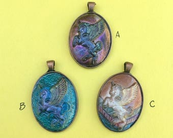 Hand Painted Unicorn Cameo Pendant
