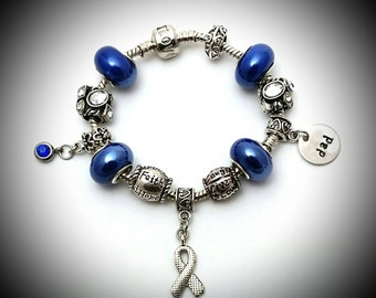 Colon cancer awareness charm bracelet,Colon cancer awareness,Dad colon cancer,Supporting dad's fight against cancer,Cancer awareness jewelry