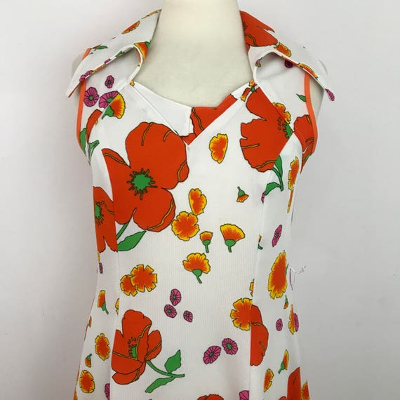 1970s Mod dress 70s polyester jersey poppy print orange white flower power dagger collar UK 14 16 plus size vintage scooter 1960s hippy