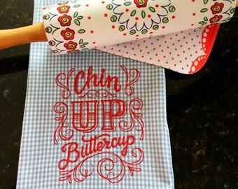 Chin Up Buttercup Tea Towel - Sassy Kitchen Towel